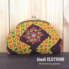 bindi がま口ポーチ☆ ethnic.embroidery.mirrorwork.india.pouch