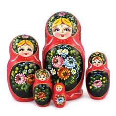 "Matryoshka ""Zhostovo"" in Red   - This magnificent nesting doll is decorated in the style of ""Zhostovo."" The bright red background is complemented perfectly by the colorful flowers, adding to the overall feeling of festivity and mystique."