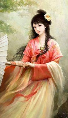 A portrait of a Japanese damsel holding an umbrella