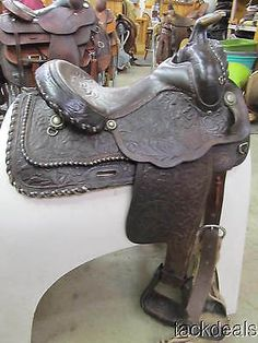 Circle Y Trail or Show Saddle Fancy Hand Tooled & Laced Used 14 1/2""