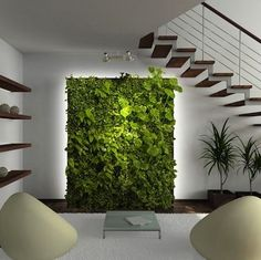 This pin inspired us to create a lush living wall as the focal point of the evrgrn loft— the perfect backdrop for the living room campsite via Bob Vila.: