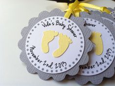 10 Yellow and Grey Personalized Tags with Baby Feet. Perfect for Baby showers or 1st birthday parties. Favor Tags.