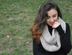 Crochet Scarf Chunky Knit Infinity Scarf Gift for Her - Light Beige / HERA (47.00 USD) by LedaDesign