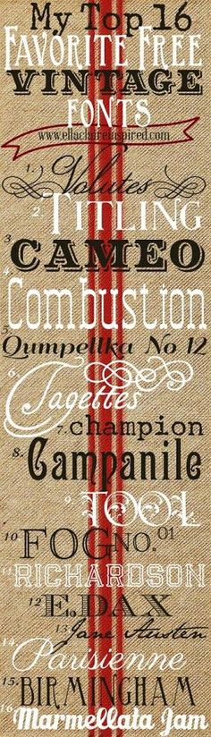 16 Free Vintage Fonts~ Create your own vintage typography! by Ella Claire
