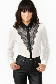 Inspiration only.  looks like it would be easy to copy.              mLaced Tux Blouse in Lookbooks Play For Keeps at Nasty Gal