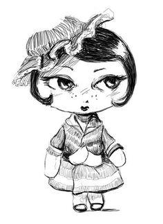 """...) En una ocasión escuché decir que Virgina Woolf había sido una mujer afortunada porque su vida se había desdoblado en dos, la suya propia y la de los personajes que como escritoria había creado"""" (extracto novela """"Las Hermanas Alba"""" de Alex Oviedo) (Dibujo de Mageritdoll por Santaplix El Santa) Collection...Design & Style # Artistic Doll # Brooch # Necklace # """"Pequeña Alta Costura"""" # Petite Haute Couture"""
