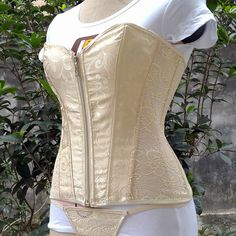 New Apricot Women Lace Overbust Steel Boned Corset Top Lace Up Back... ($20) ❤ liked on Polyvore featuring corsets, grey, lingerie, women's clothing, lace two piece and bodycon two piece
