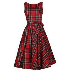 Plaid Print Sleeveless Red Skater Dress