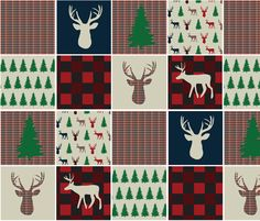 Woodsy Christmas Quilting Squares fabric by fabricfarmer_by_jill_bull on Spoonflower - custom fabric