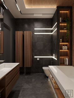 35 Deluxe Interior Design Ideas With Wood Slat Walls Bad Inspiration, Bathroom Inspiration, Bathroom Ideas, Bathroom Renovations, Modern Interior Design, Interior Design Inspiration, Design Ideas, Interior Ideas, Interior Architecture