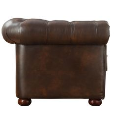 Knightsbridge Brown Bonded Leather Tufted Scroll Arm Chesterfield Chair by iNSPIRE Q Artisan Tufted Leather Sofa, Tufted Sofa, Leather Chairs, Chesterfield Armchair, Deep Sofa, Sofa Seats, Grey Cushions, Love Seat, Inspire