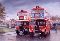 London Transport AEC Regal RT by Paul Atchinson - Golders Green in 1951 and a London Transport RT2 double decker bus on route 28 is passed by a Cravens bodied RT sporting the short lived 'Red-wing' experimental livery adopted for vehicles operating on route 2.