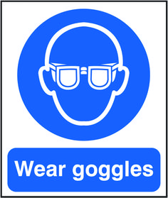 Wear goggles sign.  Beaverswood - Identification Solutions