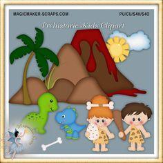 Dinosaur Prehistoric Clipart, Digital scrapbook elements for Commercial Use