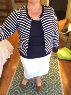Navy Stripe Cardigan with Ivory Pencil Skirt and Anne Klein Suede Pumps