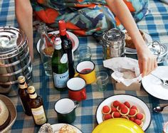 Picnic essentials -- blanket, dishes, stainless stackable containers
