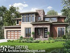 Master Up Modern with Outdoor Living Area - 23577JD | Contemporary, Modern, Northwest, Prairie, 2nd Floor Master Suite, Butler Walk-in Pantry, CAD Available, Den-Office-Library-Study, PDF | Architectural Designs