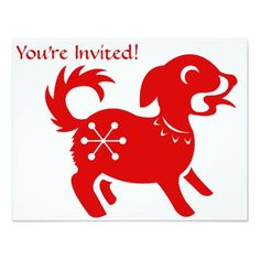 Chinese New Year's Party Invitations CHINESE ZODIAC DOG PAPERCUT ILLUSTRATION CARD