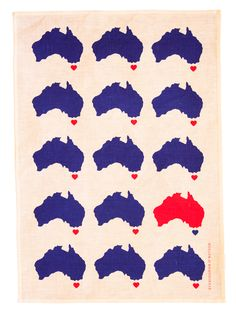Aussie Love Tea Towel - perfect for Australia Day or for Aussie expats missing home! Gifts Australia, Australia Day, Australian Gifts, Kitchen Collection, Online Gifts, Tea Towels, Royal Blue, New Baby Products, Kids Rugs