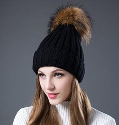 e598b8037d5 SISILIA New Women s Hats With Raccon Fox Fur Hat Pom Poms Winter Hats  Multiple Colour Knitted Cotton Beanies Female Cap