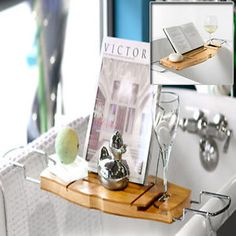 NEW Bamboo Bath Caddy Stainless Steel With Extendable Arms TO FIT Over Baths | eBay $35.99