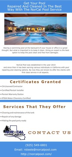 Having a swimming pool at the backyard of your house or office is a great thought. But what is important is to keep it clean. Hiring an expert is the best option to keep the pool clean and free from damages. http://norcalpool.com/livermore-pool-maintenance-service/