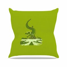 KESS InHouse RT1055AOP03 18 x 18-Inch 'BarmalisiRTB Breakdance Crocodile Green Beige' Outdoor Throw Cushion - Multi-Colour *** More info could be found at the image url. #GardenFurnitureandAccessories