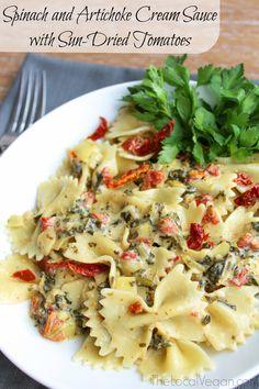 Spinach and Artichoke Coconut Cream Sauce Pasta - TheLocalVegan #vegan #pasta #cleaneating #maindish www.thelocalvegan.com