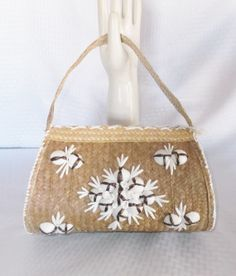 50's 60's Vintage Straw Purse Hand Bag with by MyVintageHatShop, $33.00