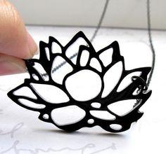 ON SALE Baronyka Black Lotus Flower Necklace - Lotus Jewelry - Flower Jewelry - Floral Jewelry - Contemporary Jewelry - Nature Jewelry