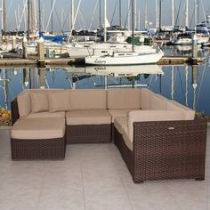 International Home Miami Atlantic Sectional 6 Piece Set ($3,074) ❤ liked on Polyvore featuring home, outdoors, patio furniture, chocolate, home theater sectional, chocolate brown sectional, 6 piece sectional, chocolate sectional and dark brown sectional