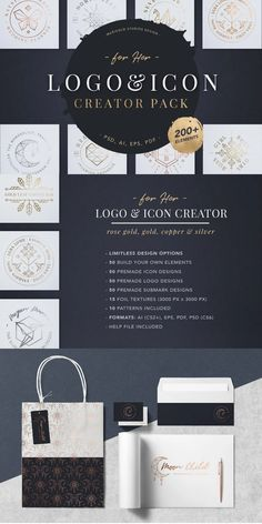 Create unlimited designs with this beautifully, crafted Logo, Icon and Submark Creator Pack. With build your own elements or ready designed logos, icons and submarks for you to choose from. #AffiliateLink Icon Creator, The Creator, Craft Logo, Logo Design Template, Texture Design, Moon Child, Build Your Own, Icon Design, Packing