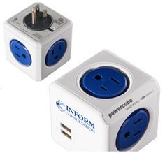 The Power Cube by Allocacoc Input: 3 prong AC plug (US) Output; AC 125V 15A; 1875W(grounded) Output; Duo USB 5V 2.1A 4 Plastic Exterior 1 Universal AC IN port (US) 4 AC our ports (us) { 2 Regular USB OUT ports ETL Certified.