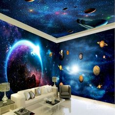 Ways paint murals on walls and their easy and applicable manufacturing techniques - Homemidi 3d Wall Murals, Bedroom Murals, Bedroom Themes, Ceiling Murals, Solar System Room, Galaxy Bedroom, Galaxy Theme, Music Studio Room, Star Ceiling