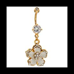 $12 Sale!! 14k Gold Belly Ring **Merc**Adorable 14kt Yellow Gold Plated Over Surgical Steel Hawaiian Flower Belly Ring Adorned With AAA CZ Crystals. High Quality! Comes To You In A Pretty Black Velvet Pouch. Fast Shipping!*Merc* Jewelry Rings