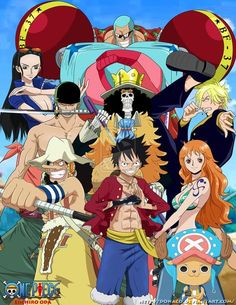 The Straw Hat Pirates is a pirate crew originating from East Blue, but various members of the crew are from different areas. They are the main focus and protagonists of the anime and manga One Piec. One Piece Crew, One Piece World, Anime One Piece, One Piece Fanart, Basset Dachshund, Manga Anime, Animé Fan Art, One Piece Series, The Pirate King
