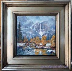 "$240 ""Misty Yosemite Falls"", 6x6, oil on panel Framed"