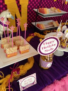Tangled Birthday Party - What a CUTE table runner! Tangled Birthday Party, Birthday Party Desserts, 4th Birthday Parties, Birthday Ideas, Teen Girl Birthday, Happy Birthday Me, Disney Princess Party, Princess Sofia, Rapunzel