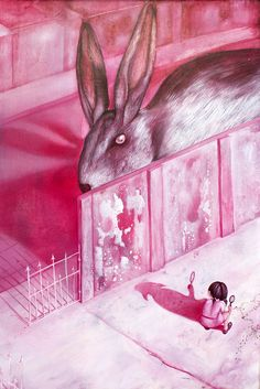 1379865 628388450557382 1985614485 Nby OddArt-GrantBayman — At first it just seems like a frightening case of pareidolia, but there really is a huge bunny! Bunny, Illustration, Painting, Play, Art, Rabbit, Art Background, Cute Bunny, Hare