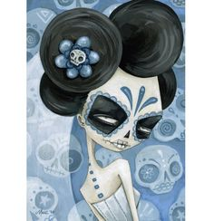 blue - woman - day of the dead - dia de los muertos - painting - Megan Majewski Sugar Skull Art, Sugar Skulls, All Souls Day, Day Of The Dead Skull, Arte Popular, Mexican Folk Art, Objet D'art, Skull And Bones, Monster