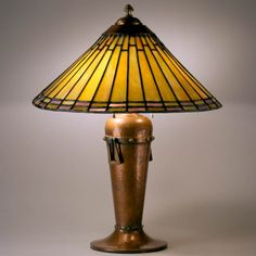 Rycroft Stained Glass and Copper Lamp, Leaded Glass, Stained Glass, Craftsman Lighting, Copper Lamps, Roycroft, Louis Comfort Tiffany, Tiffany Lamps, Antique Lamps, Arts And Crafts Movement