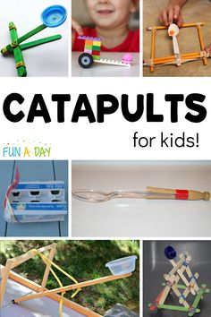 DIY catapults for kids that inspire tons of creative learning! Practice math, science, fine motor skills, and STEM as you enjoy building these creations. Who doesn't love hurtling objects through the air? Early Learning Activities, Science Activities For Kids, Preschool Science, Math For Kids, Science Experiments Kids, Toddler Activities, Preschool Activities, Kids Learning, Preschool Teachers