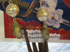 Vintage Greek Goddess and Pearl Earrings by janislogsdongems