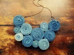 recycled jeans made into a necklace. Hey a little glue and we're in business!