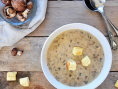Homemade Cream of Mushroom Soup Recipe | Simple, Elegant and Flavorful Cream of mushroom soup. This is great recipe that can be used as a soup or a condensed soup. #soup #mushroom #vegetarian