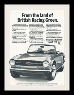 "1971 Triumph TR-6 Car Ad ""British Racing"""