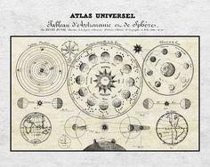 16 x 20 astronomía Vintage impresión gráfica envío por UncleBuddha
