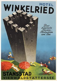 Great Original Swiss Travel Poster 1930 Stansstad Hotel