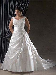 A-Line Tip of the shoulder V-Neckline Appliqued and Ruffled Plus Size Wedding Dress WD1463 www.tidedresses.co.uk - 2013 Wedding Dresses,Wholesale Wedding Dresses UK £189.0000