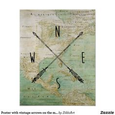 Poster with vintage arrows on the map, azimuth #hq  #old #book #illustration #gravure #decor #digital #collage  #quality  #inspiration #retro #antique #vintage  #draw #drawing  #black #white #poster #wallart #map #paper #walldecor #walldesign #placard #banner #billboard